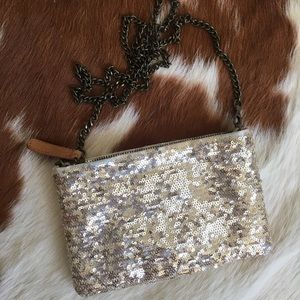 J Crew gold sequined purse